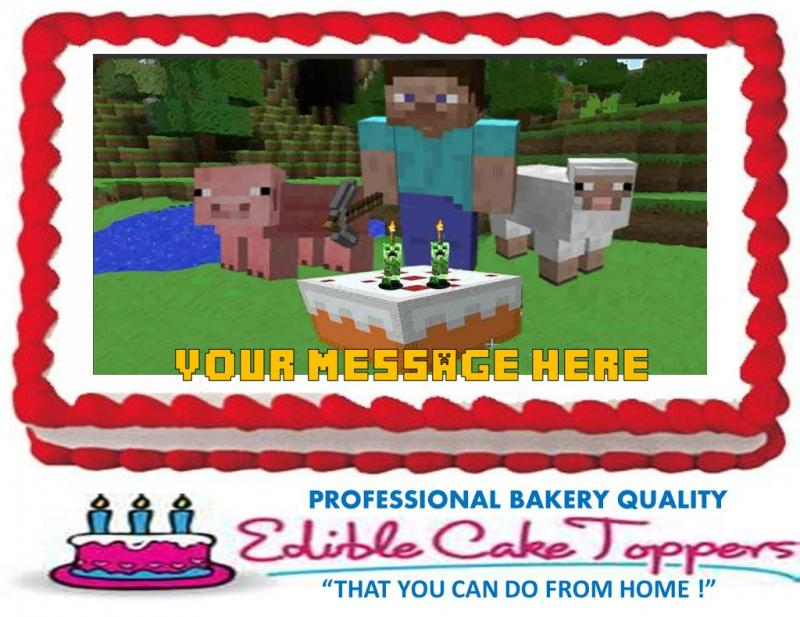 MINECRAFT Custom Edible Cake Topper Edible by KustomToppers on Zibbet