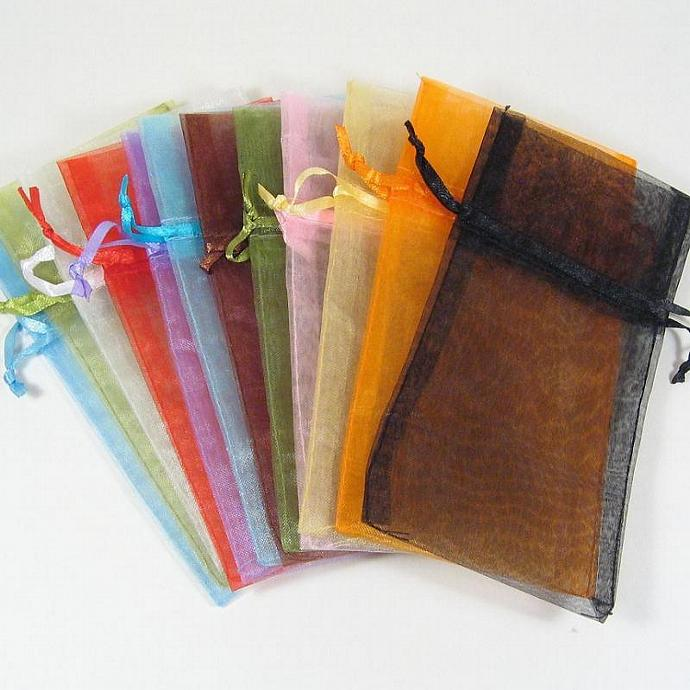 3 x 5 Inch Mixed Colors Organza Drawstring Bags