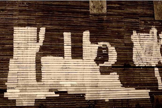 Over Painted Graffiti Creates a Rorschach Fine Art Photo