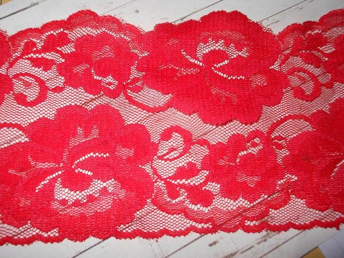 Wide red lace