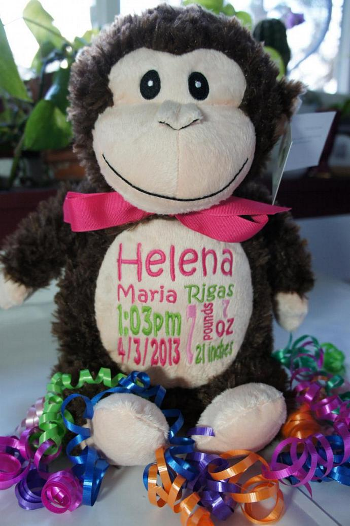 Personalized baby gift baby cubby by celebratewiththread personalized baby gift baby cubby huggles the monkey a plush stuffed animal negle Gallery