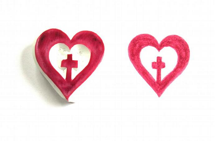Heart with Cross Hand Carved Rubber Stamp