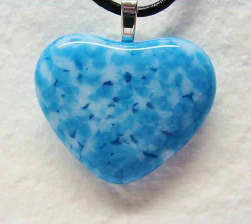 Blue and white Heart Pendant Necklace