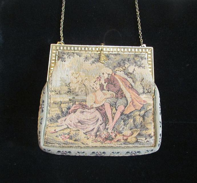 Vintage Petit Point Purse 1900s Purse Formal Purse Victorian Purse Antique Purse