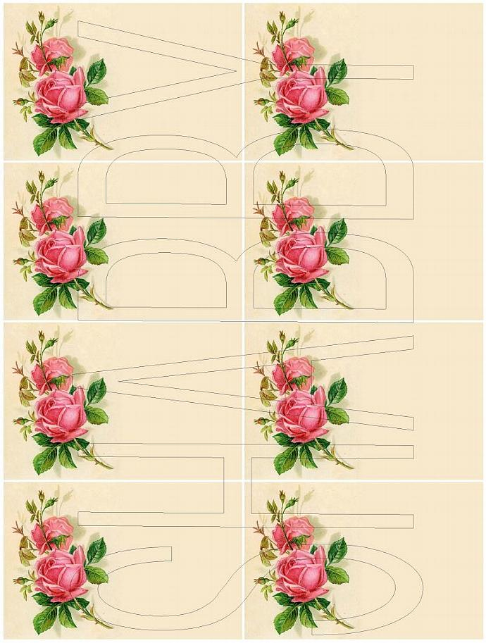 Shabby Chic digital  collage sheet for scrapbook and cards  DC589