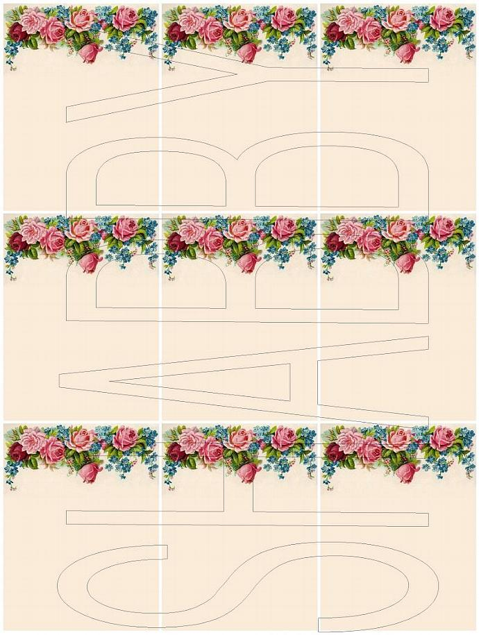 Shabby Chic digital  collage sheet for scrapbook and cards Pocket Letters DC595