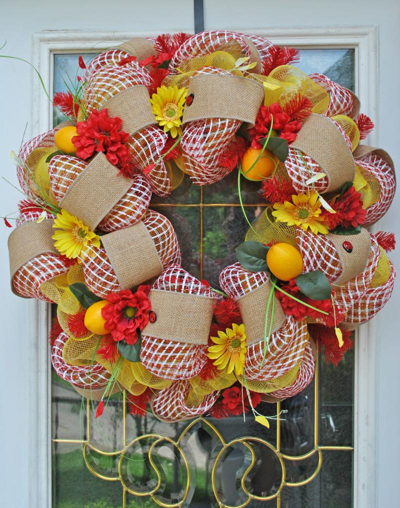 Summer Lemon Wreath Deco Mesh Picnic By