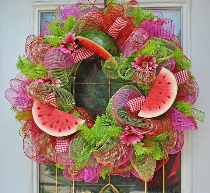 Summer Watermelon Wreath Deco Mesh By