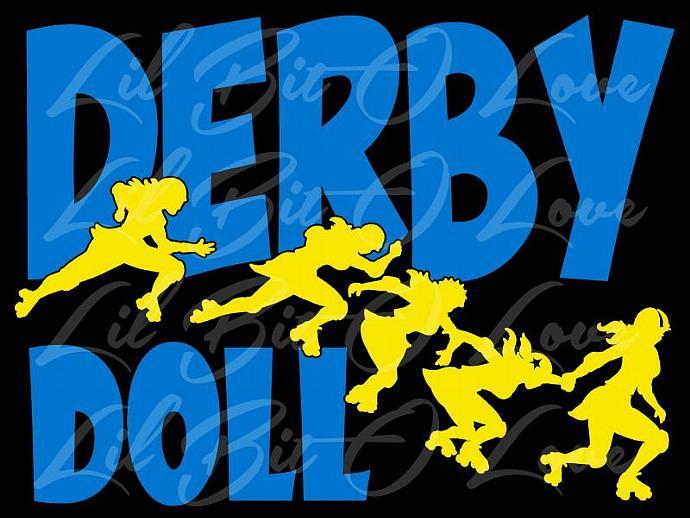 2 Color Derby Doll Roller Derby Vinyl Decal Auto Vehicle Sticker