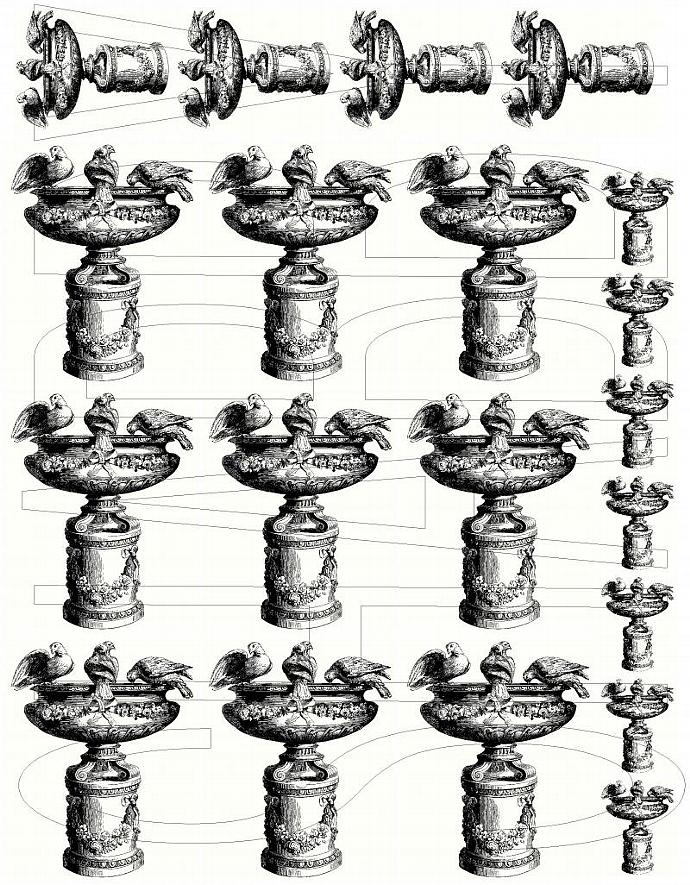 Shabby Chic digital  collage sheet Bird bath  for scrapbook and cards  DC603