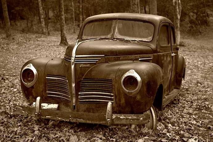 Old 1940's Plymouth Fine Art Photo in Sepia