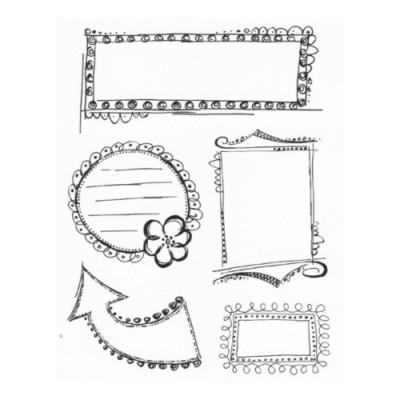 "Kaiser Craft Stamps -"" Doodled Frames "" - Acrylic Stamps - Brand NEW"