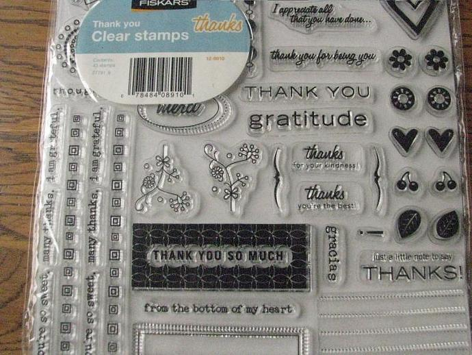 "Fiskars- "" THANKS ""  - Acrylic Stamps - Clear Stamps- Brand NEW-"