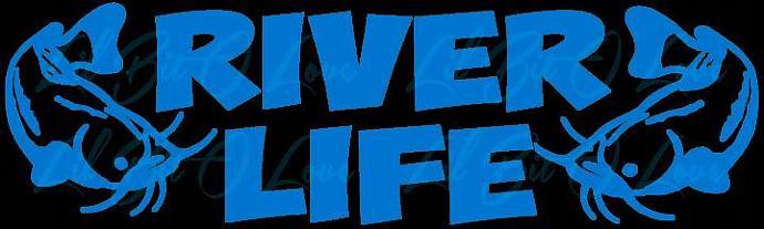 River Life 2 Catfish Vinyl Decal Sticker Vehicle Car Auto