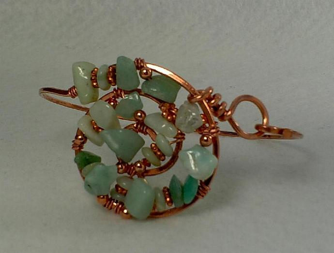 Copper and Amazonite Bangle - #0147