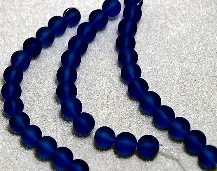 Blue Babies- recycled sea glass beads