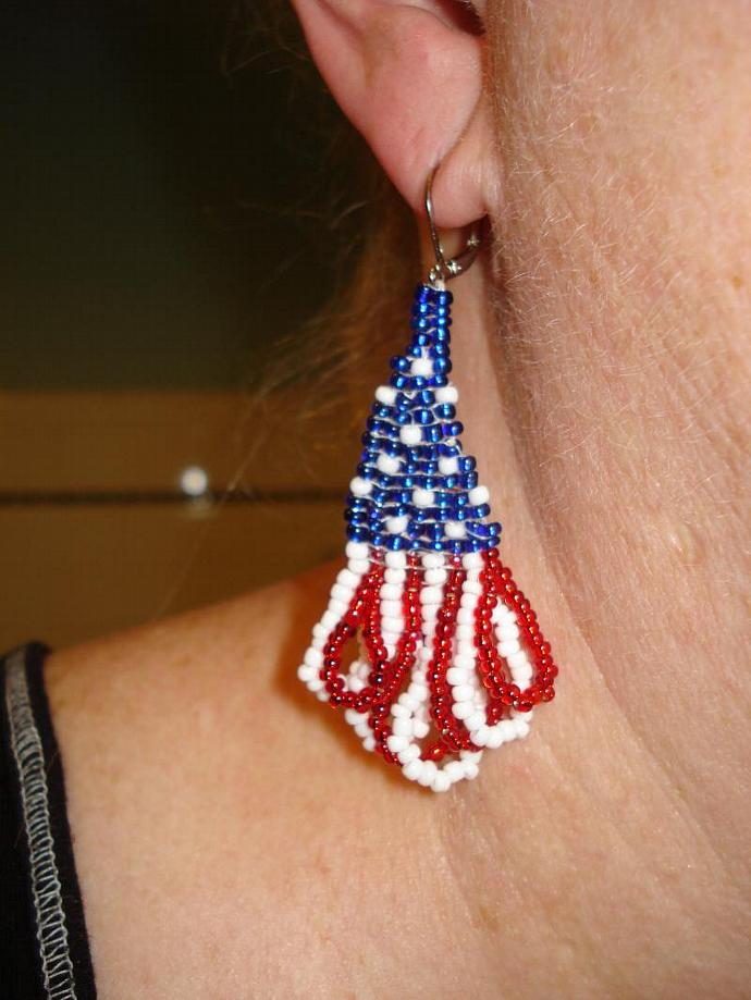 Patriotic Fringed Bead Earrings