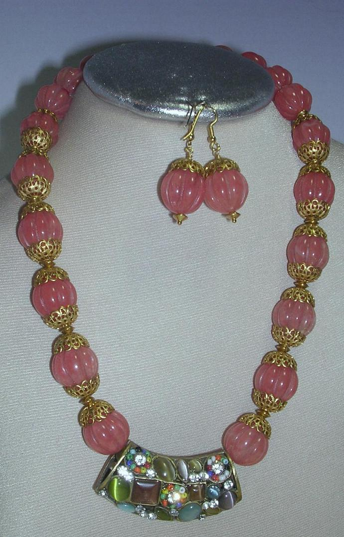 SOLD- Pink Quartz Carved Beads statement necklace with a large exotic gold color