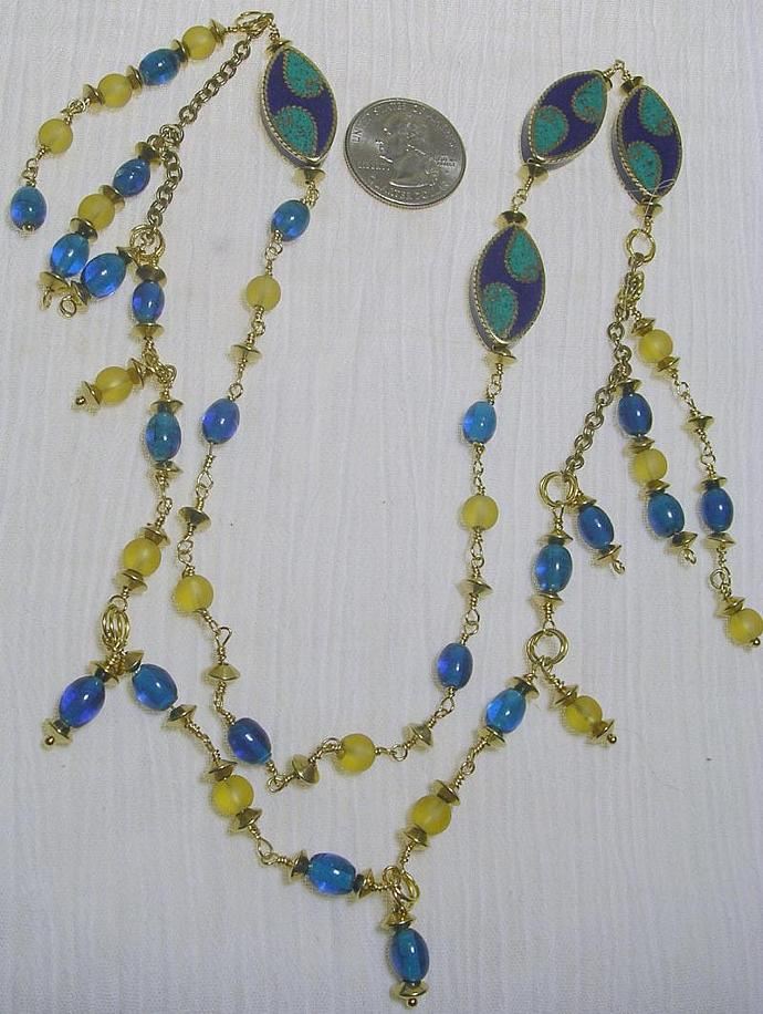 Long beaded necklace, inlay mosaic stations, wire wrapped blue and yellow beads,