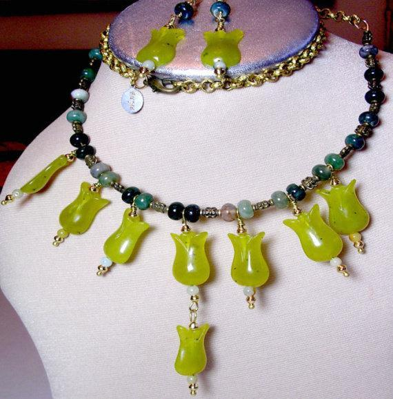 Green Beaded Necklace featuring large Mint Green Jade Flowers, with Deep Green