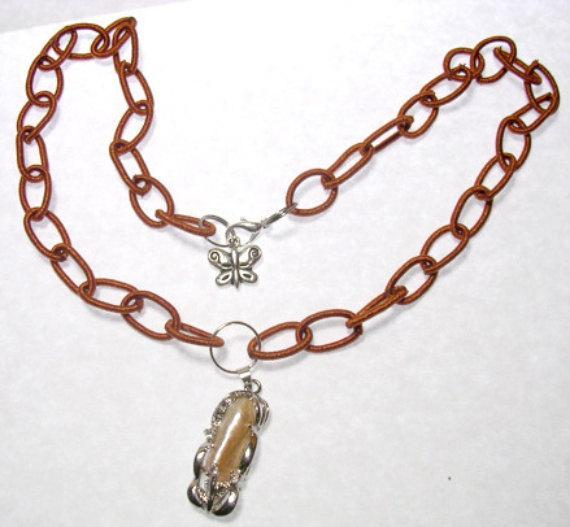 "Brown Beaded necklace with Keisha Pearl Pendant, Brown Silk Wrapped ""Beads"","
