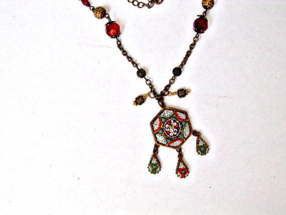 Red Beaded Necklace featuring a Vintage Italian Micro Mosaic Flower Pendant,
