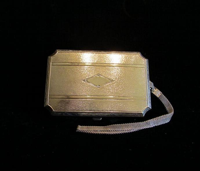Vintage Silver Plated Compact Purse Dermay Compact 1910's Dance Purse Wristlet