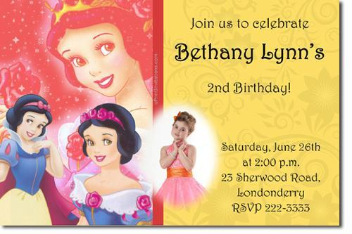 SNOW WHITE BIRTHDAY INVITATIONS (click for additional designs)
