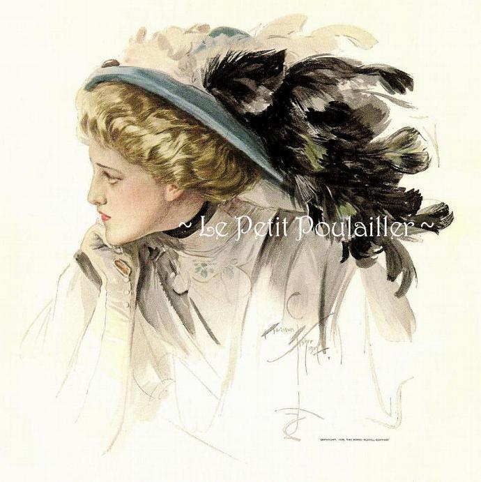 A Woman's Letter 1909 Edwardian Harrison Fisher Antique Fashion Lithograph
