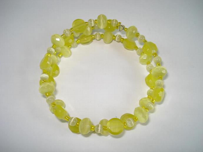 Yellow Fiber Optic Glass Bead Memory Wire Bracelet