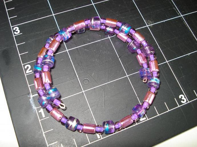 Purple - Beaded Memory Wire Bracelet