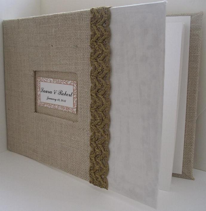 Burlap Wedding Guest Book W Vintage Gold Lace Silk Rustic Guestbook