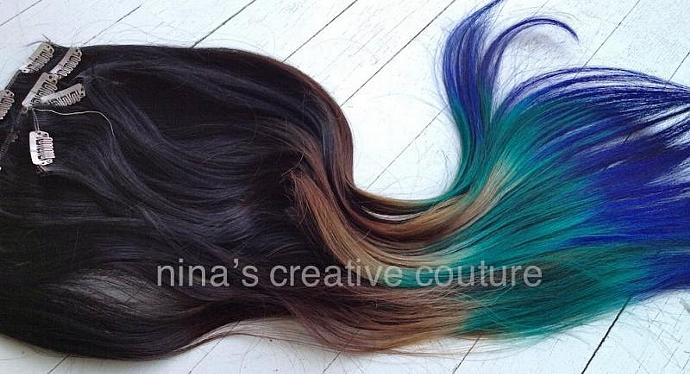Peacock Ombre Hair Extensions With A Ombrehairextensions