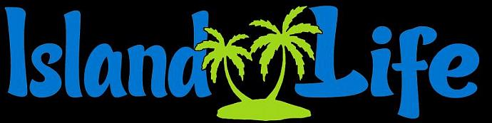 2 Color Island Life Vinyl Decal with Palm Trees Sticker