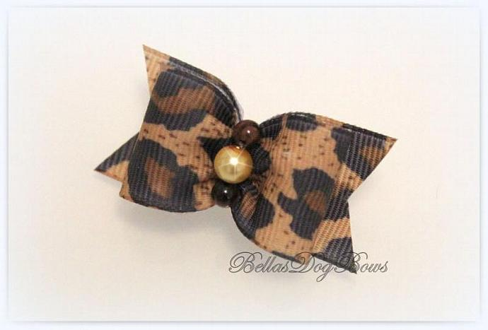 Animal Print (Leopard) Dog Bow with Matching Flag and Golden Pearl Centered