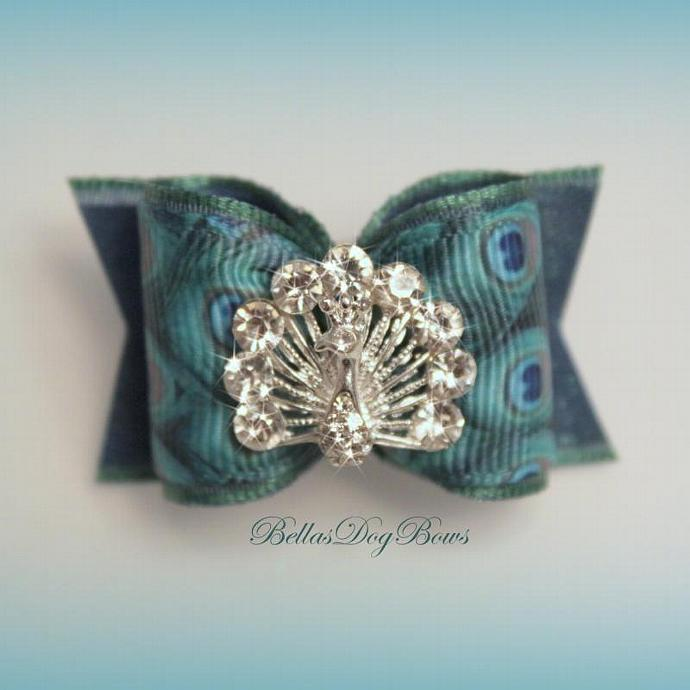Peacock Ribbon Embellished Bow