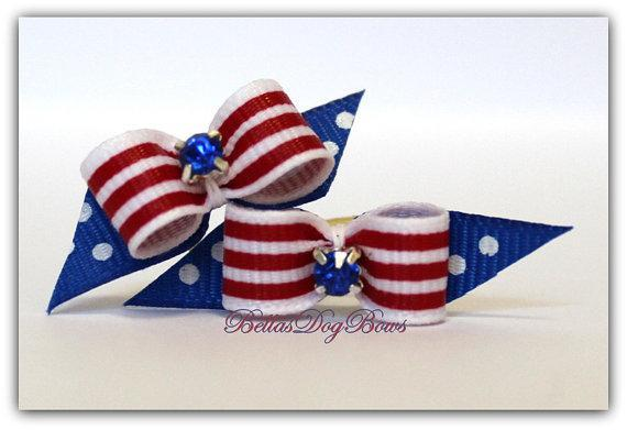 """3/8"""" Fourth of July Dog Bows (Petite Pairs) Single Loop w/Flags Embellished with"""