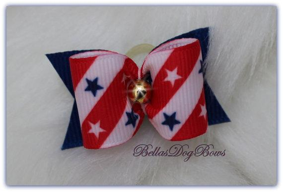 Stars & Stripes Patriotic Bow. Red, White-Blue Grosgrain Stripes with Stars