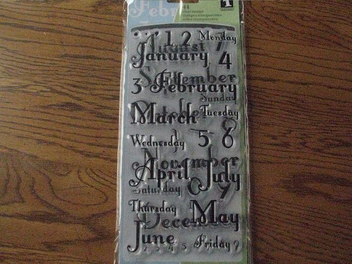 """Inkadinkado Acrylic Stamps """"Months and Days"""" - Clear Stamps - Brand NEW- Only"""