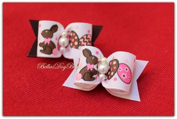COLOR CHOICE - Easter Bow with Printed Easter Rabbit and Easter Eggs. Choose