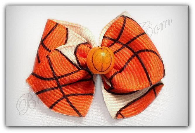 Sporty Basketball Dog Bow ( 1-Inch Grosgrain Ribbon Casual Bow for either Girls