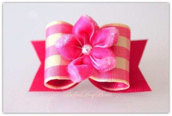Rose & Yellow Gingham Bow with Rose Satin Flags. Embellished with a Plush Pink