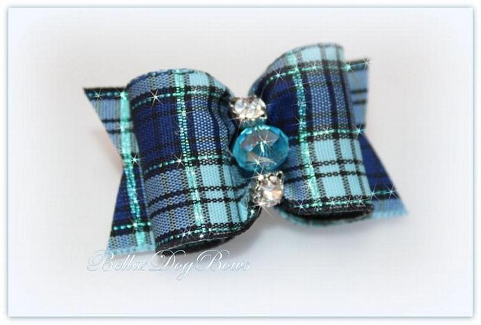 Plaid Bow in Shades of Blue with Aqua Metallic Threads. Blue Crystal Bead & 2
