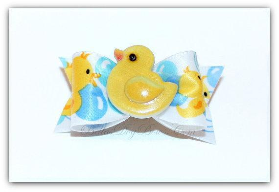 Adorable Rubber Ducky Dog Bow (Single Loop Bow with Duck Embellishment)