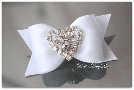 Wedding White Bridal Satin Bow with Heart Shaped Rhinestone Embellishment
