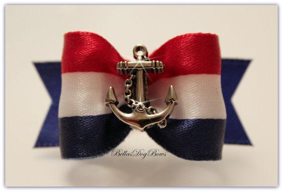 Nautical Anchor with Patriotic Colors of Red, White & Blue Coordinated w/Blue