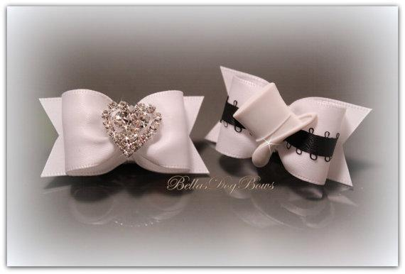Bridal Dog Bow Set. Beautiful Bride & Groom White Satin Bows.