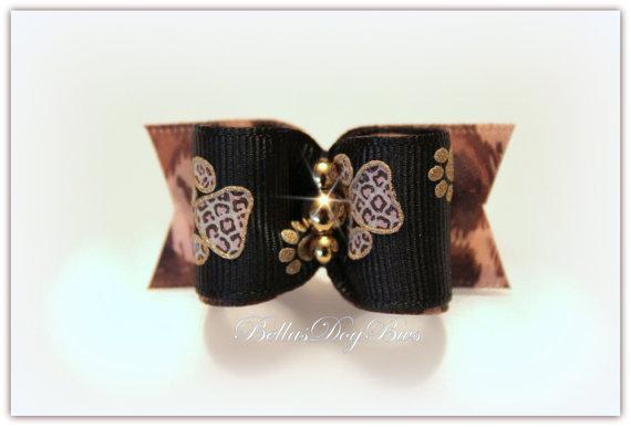 """""""Wild Thing Animal Print Bow"""". Black Grosgrain with Leopard Pawprints trimmed in"""