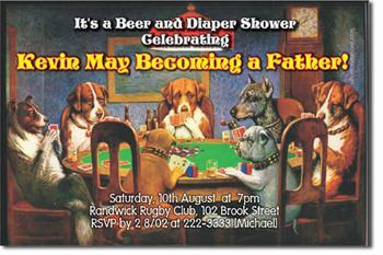Beer and Diaper Baby Shower Invitations (download jpg immediately)