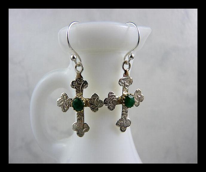 Textured Sterling Silver Cross Dangle Earrings with Faceted Emerald